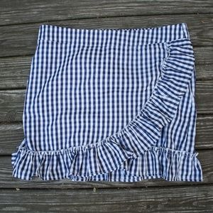 Gingham Wrap Front Mini Skirt With Ruffle Small